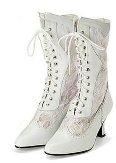 I LOVE THESE SHOES!!! Amazon.com: Victorian Leather and Lace Wedding Boot: Shoes