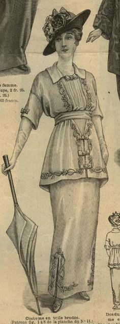 The woman in this photo represents women apparel during 1913-1914 by her kimono style dress.  Her hobble skirt is also an indicator of her time period.  Half sleeves were also very much in style during the time period and you would most likely see this outfit during spring/summer time with the frill and flower details. (Lauren B.)