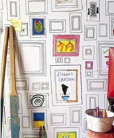 5 Interactive Wallpapers for Kids -- wldn't this one be super cool for a kids corner for all our friend's kids?