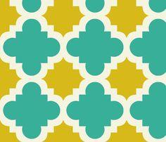 burst turquoise and mustard fabric by mytinystar on Spoonflower - custom fabric