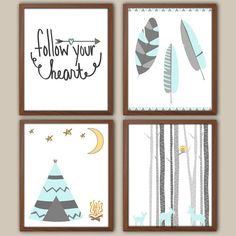 Tribal Nursery Art For Girl - Camping - Adventure - Tepee - Feathers - Nursery Quote - Deer Fawn - Set Of 4 Nursery Prints For Girls on Etsy, $35.00