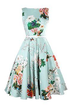 2016 New Cheap Vintage Dresses Slash Neck A Line Mid-Calf Sleeveless Casual Dresses Free Shipping Summer Beach Flora Printed Women Wear