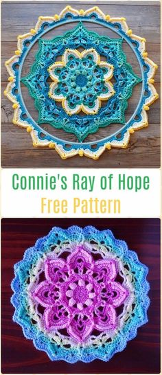 Crochet Connie's Ray of Hope Free Pattern Video -Crochet Dream Catcher Free Patterns Crochet Dream Catcher & SunCatcher Free Patterns: A collection of crochet dream catchers, suncatchers, crochet rounds and mandalas. Crochet Square Pattern, Crochet Mandala Pattern, Crochet Flower Patterns, Doily Patterns, Crochet Squares, Crochet Flowers, Crochet Dreamcatcher Pattern Free, Granny Squares, Dress Patterns