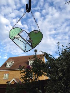 Stained glass patchwork heart green birds by Wendysglasshouse, £7.50