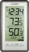 La Crosse Technology Large-Digit Indoor/Outdoor Color Spot Thermometer and Clock, in Blue Indoor Outdoor, Outdoor Gardens, Weather Instruments, Weather Data, La Crosse, Digital Thermometer, Digital Alarm Clock, A Table, Remote