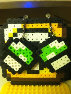 1Up mushroom 8 bit Perler Beads Earrings by 8bitmemories on Etsy, $5.00