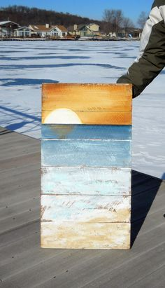 Hey, I found this really awesome Etsy listing at https://www.etsy.com/listing/174730048/rustic-board-sunset-beach-art