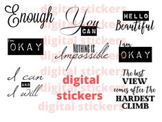 Digital motivational quotes sticker set by Fdigitalstudio on Etsy Perfection Quotes, Printable Quotes, Sticker Shop, Handmade Items, Handmade Gifts, Marketing And Advertising, No Response, Motivational Quotes, Stickers