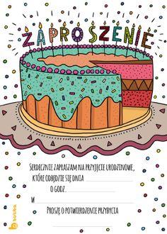 Zaproszenie urodzinowe do wydruku z tortem. Zaproszenie na urodziny dla dzieci.