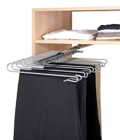 WENKO 5971100 Pull-out wardrobe element trouser hanger - for 12 pairs of trousers, detachable pull-out rail, Chrome plated metal, 33 x 10 x 47 cm, Silver shiny