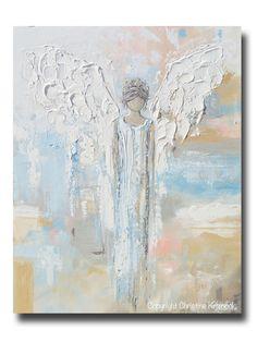 GICLEE PRINT Abstract Angel Painting Guardian Angel Spiritual Gift Blue Blush Contemporary Home Decor Wall Art - Christine Krainock Art - Contemporary Art by Christine - 1