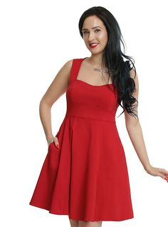 Red Fit & Flare Dress, RED