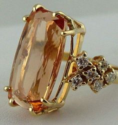 Jewelry Necklace Diy Yellow Gold Imperial Topaz Ring with Diamonds - Vintage. Topaz Jewelry, Gold Jewelry, Jewelry Accessories, Jewelry Design, Jewellery, Topaz Earrings, Diamond Jewelry, Antique Jewelry, Vintage Jewelry