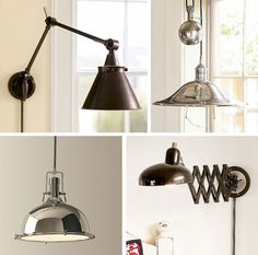 Top left - perfect for reading in bed! Wall Lamp, Industrial Inspired Lighting, Interior Design Courses, Interior, Lighting, Lights, Pendant Light, Interior Design Gallery, Apartment Decor