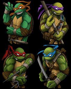 Teenage Mutant Ninja Turtles by David Tevenal Ninja Turtles Movie, Teenage Ninja Turtles, Tmnt Comics, Bd Comics, Ninja Turtle Tattoos, Lesage, Artwork, Cartoons, Wallpaper Designs