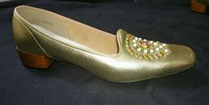 Gino bellini vintage gold shoes size 9 s jewel #725 #Bellini #KittenHeels #SpecialOccasion