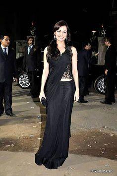 Dia Mirza in black lace saree by Gaurav Gupta
