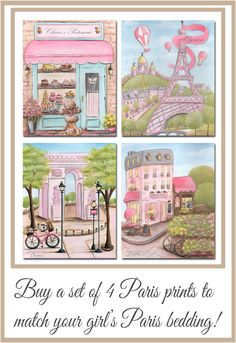 Looking for prints to go with your Paris Bedding? This adorable set of 4 pink Paris, France prints (available in 6 sizes) is perfect for your Paris themed baby nursery or bedroom! The patisserie and Eiffel Tower can each be personalized with girl's name too. Check out my Etsy shop for more Paris, London and Italy Girl Prints.