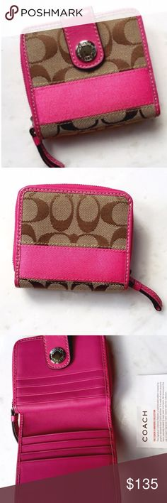 NWOT! COACH Signature Medium Wallet 💲BUNDLE & SAVE 30%💲Brown signature print canvas fabric with magenta pink detail,has a snap closure as well ass a zip-around coin pocket, several interior credit card slots plus bill pocket, leather interior. Approx. 4.5in(L) 3.75in(H) 1.5in(W) Coach Bags Wallets