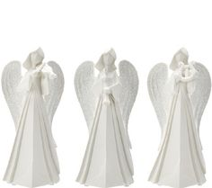 Kringle Express Set of 3 Porcelain Angels with Instruments
