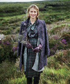 This reminds me of Scotland! Model wearing silk dress, cardigan, and tweed coat in purple shades