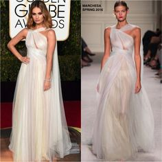 Lily James in Marchesa at the 73rd Annual Golden Globe Awards