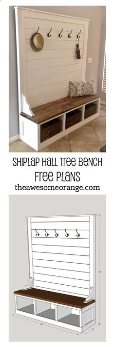 Plans of Woodworking Diy Projects - FREE Plans from www.theAwesomeOra... - Shiplap Hall Tree Bench #diy #build #mudroom #bench Get A Lifetime Of Project Ideas & Inspiration! #mudroombenchdiy