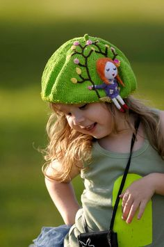 Adorable knitted beret in bright Green Apple color, decorated with a knitted applique and beads. Very cool and unique accessory for a little Little Babies, Cute Babies, Little Girls, Baby Kind, Cute Baby Girl, Knitted Hats, Crochet Hats, Knitting For Kids, Kids Hats