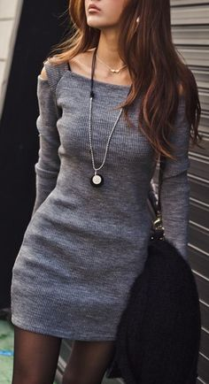 gray sweater dress & tights