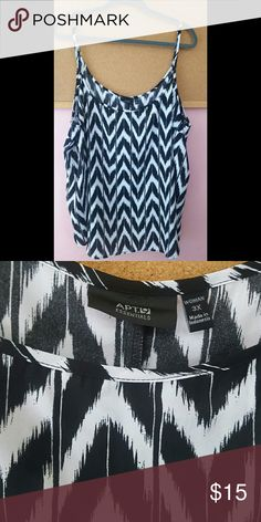 Flowy chevron tank top Black and white chevron pattern. Light and flowy fabric, will need layered. Straps are adjustable. Only worn one time. 3x=22/24 Apt. 9 Tops Tank Tops