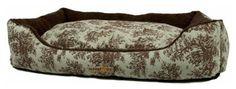 AlphaPooch Cuddler Rectangular Bolster Dog Bed - Celery Toile - Small