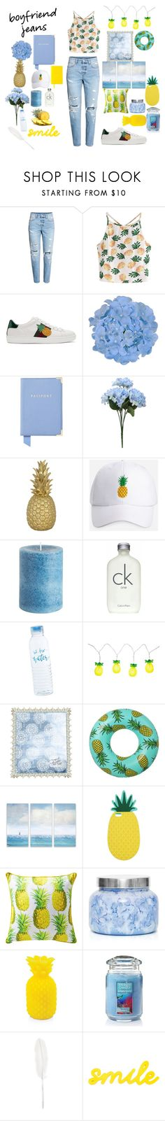 """""""Boyfriend Jeans👖 & pineapple🍍"""" by aik-lin ❤ liked on Polyvore featuring H&M, WithChic, Gucci, Aspinal of London, Goodnight Light, Ashley Stewart, Pier 1 Imports, Calvin Klein, Sunnylife and Enchanté"""