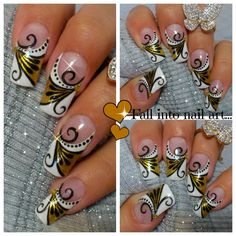 Gold & Black Diva nail Art by MyDesigns4You #nailart #goldnails #nails #frenchtip #longnails  https://www.youtube.com/watch?v=l2sAYZ951D0 Дизайн ногтей педикюр