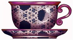 ArtbyJean - Paper Crafts: ---LACE - Cups and Saucers