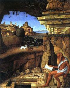 Giovanni Bellini St Jerome Reading in the Countryside - San Girolamo - San Girolamo in campagna a leggere, di Giovanni Bellini