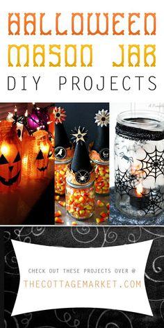 Halloween Mason Jar DIY Projects - The Cottage Market #HalloweenCrafts, #HalloweenMasonJarDIYProjects, #HalloweenMasonJars, #MasonJarHalloween, #MasonJarDIYProjects