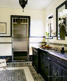 HouseParts Bathroom Porn II - His  The tiles—as well as the cabinetry —in His master bathroom were designed by Madeline Stuart & Associates.  - Circa 1923 Spanish Colonial architectural design by Syvanus Marsten, Pasadena.