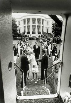 August 9, 1974 Richard Nixon and First Lady Pat Nixon leaving the White House after Nixon's farewell speech to the Cabinet and staff.