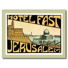 Art vintage d'étiquette d'hôtel de Jérusalem de Carte Postale | Zazzle