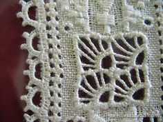 Lefkara Lace from Cyprus It looks very much like needle lace. Hardanger Embroidery, White Embroidery, Ribbon Embroidery, Needle Lace, Bobbin Lace, Drawn Thread, Gingham Fabric, Embroidery Patterns Free, Blanket Stitch