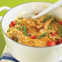 """Spicy Coconut Chicken Casserole """"stir fry a tablespoon of ginger and garlic with an onion and the curry paste for a few minutes to get everything going"""""""