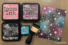 Never Stop Dreaming Card by Juliana Michaels. Quick and Easy Galaxy Background with Stencils and Distress Ink.