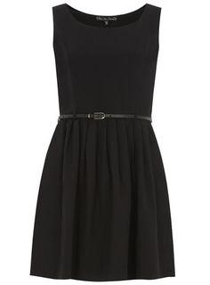 Mela Black Plain Prom Belted Dress