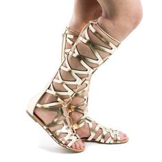 Ranger Gold PU Knee High Open Toe Gladiator Cut Out Lace Up Flat Trendy Sandals