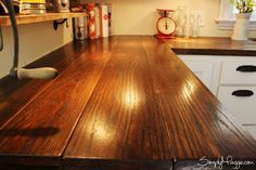 DIY Wide Plank Butcher Block Countertops www.SimplyMaggie.com