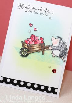 Darling Hedgehog Thinking Of You, Warms My Heart card by: penny Black Critters in Love, Copics, Linda Langes, Happy Scramper, CASE this Sketch #194