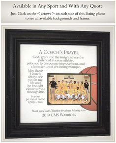 Basketball Team Gift for Coach Thank You Gift Photo Frame for | Etsy