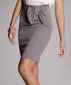 Look at this #zulilyfind! FIGL Gray Bow Pencil Skirt by FIGL #zulilyfinds