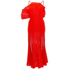 Alice McCall Room Is On Fire Dress ($305) ❤ liked on Polyvore featuring dresses, alice mccall dress, red crochet dress, midi dress, cotton sheath dress and alice mccall