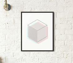 Hexagon Geometric Print, Printable Wall Art, Top Selling Items, 3D Abstract Print, Blush Blue Sky Home Decor, Scandinavian Modern Minimalist
